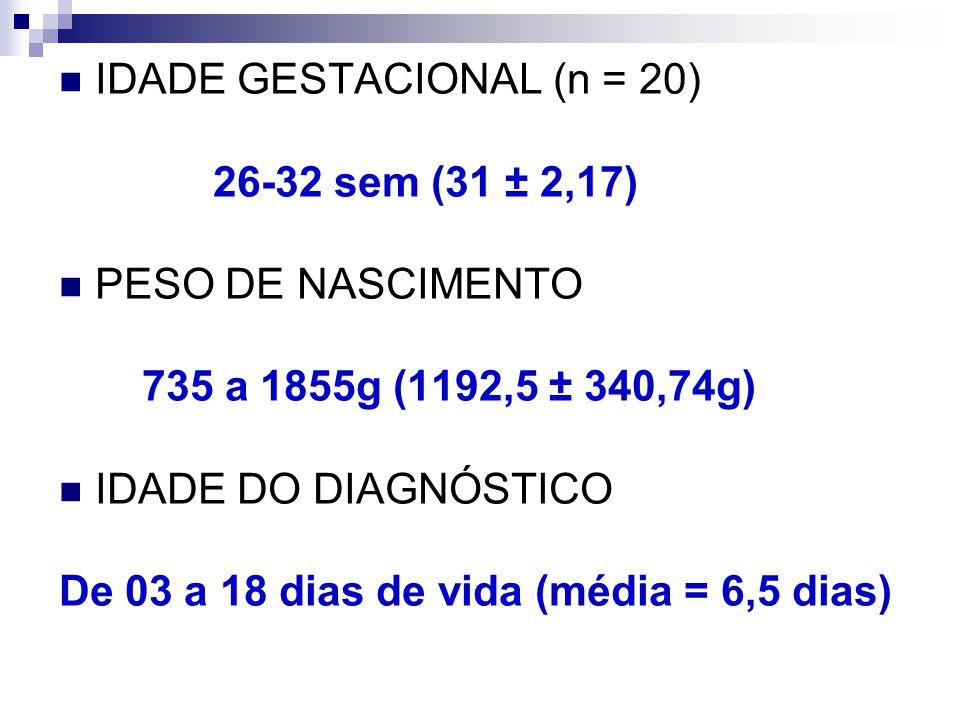 IDADE GESTACIONAL (n = 20)