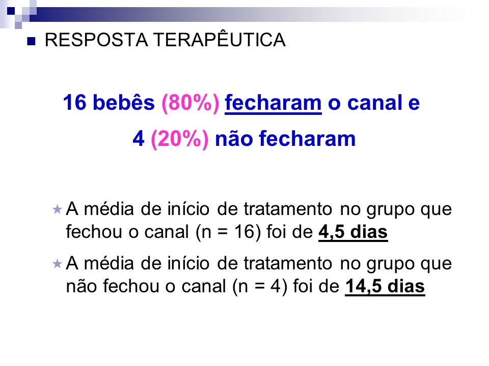 16 bebês (80%) fecharam o canal e