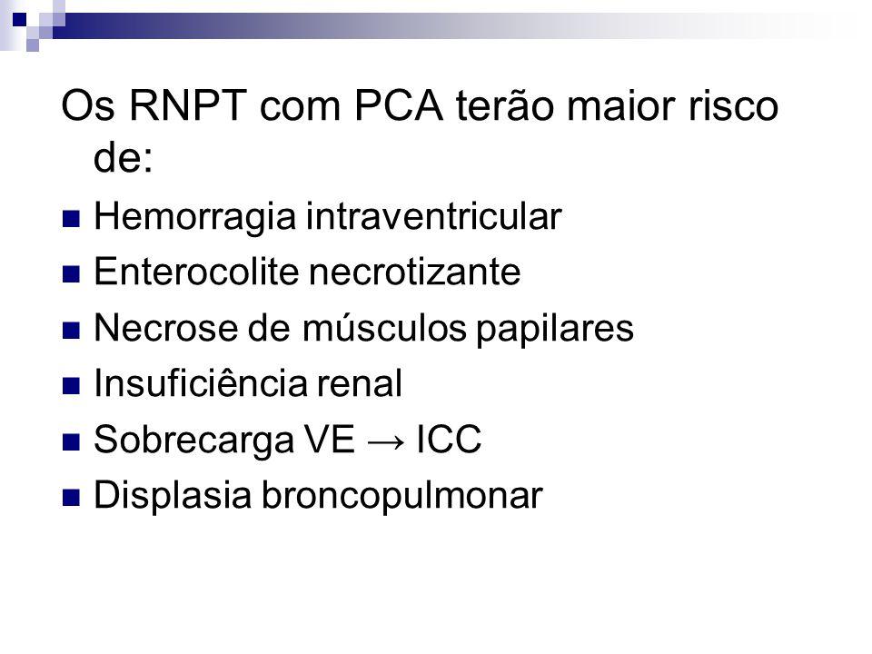 Os RNPT com PCA terão maior risco de: