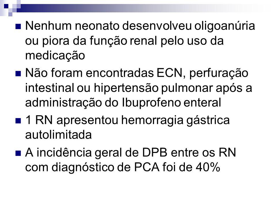 Nenhum neonato desenvolveu oligoanúria ou piora da função renal pelo uso da medicação