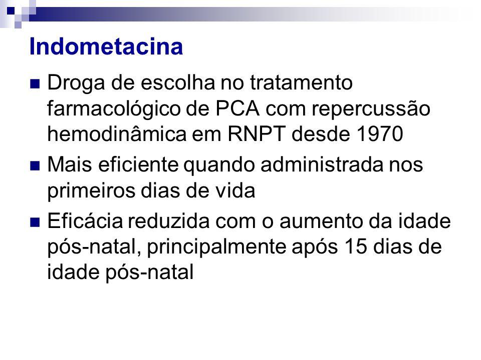 Indometacina Droga de escolha no tratamento farmacológico de PCA com repercussão hemodinâmica em RNPT desde 1970.