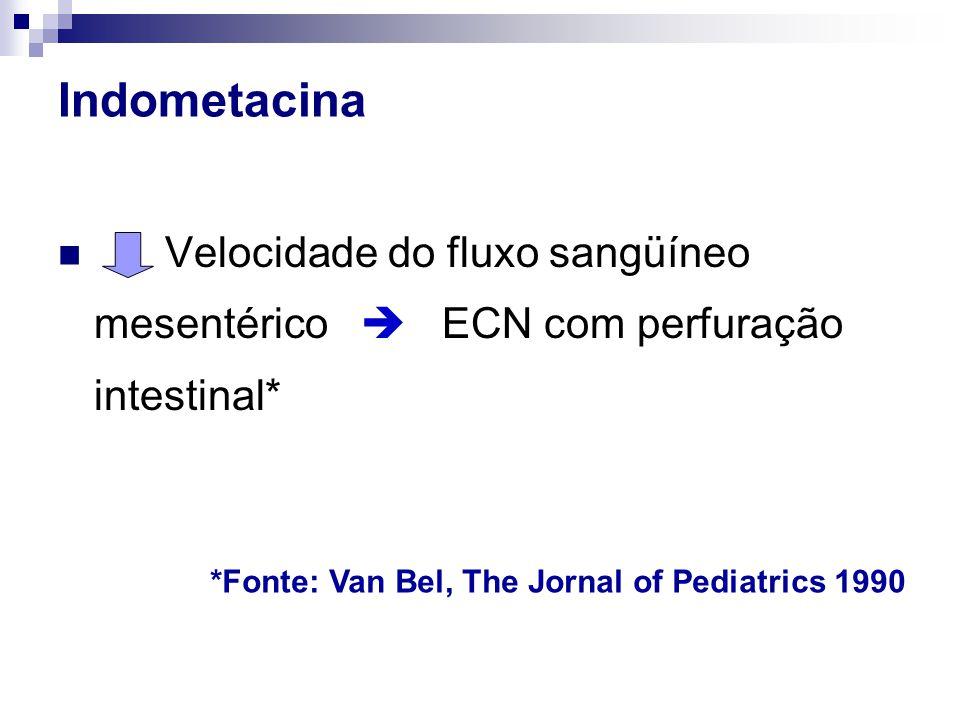 Indometacina Velocidade do fluxo sangüíneo mesentérico  ECN com perfuração intestinal* *Fonte: Van Bel, The Jornal of Pediatrics 1990.