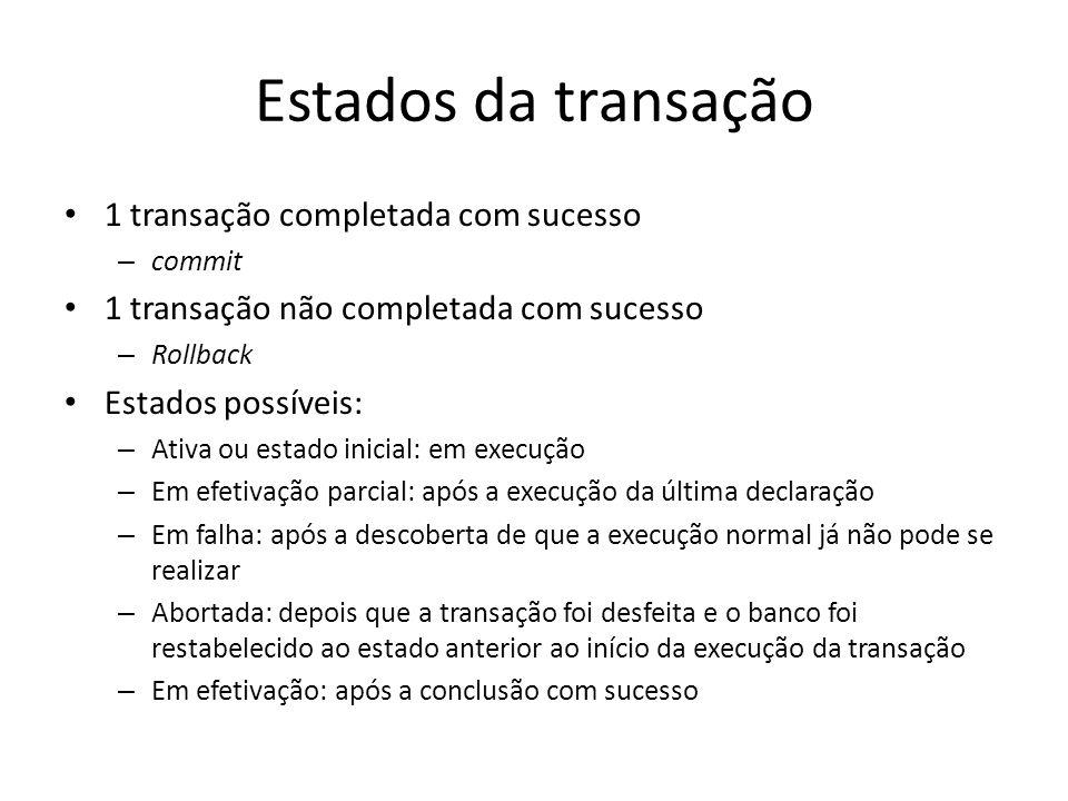 Estados da transação 1 transação completada com sucesso