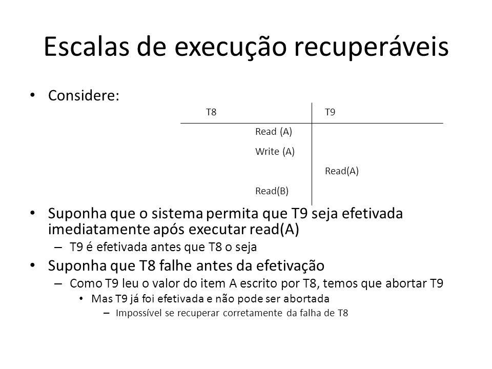 Escalas de execução recuperáveis