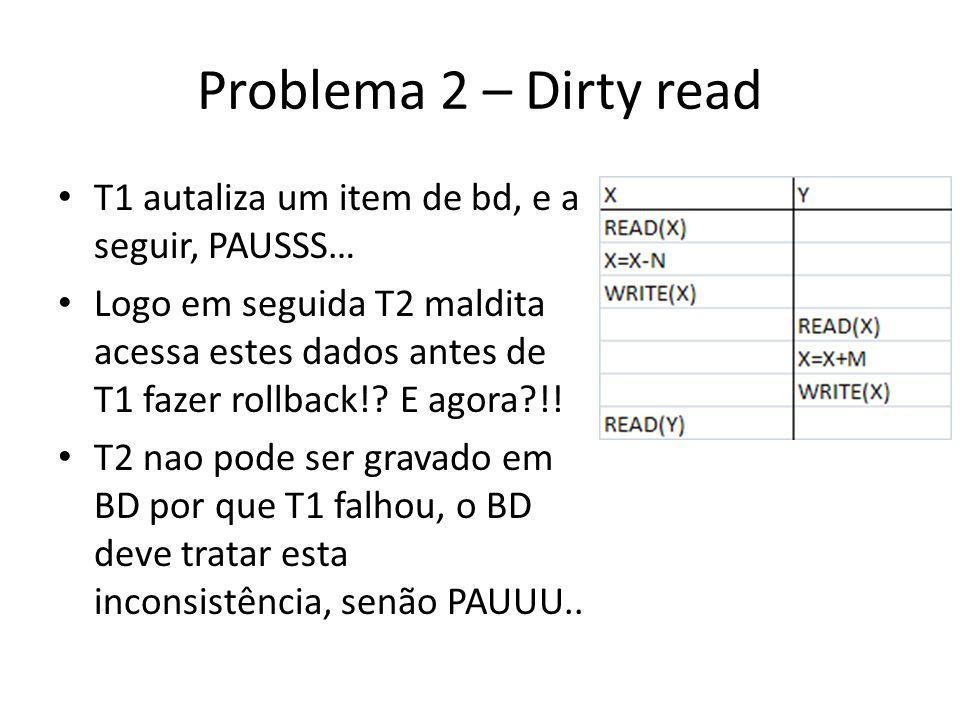 Problema 2 – Dirty read T1 autaliza um item de bd, e a seguir, PAUSSS…