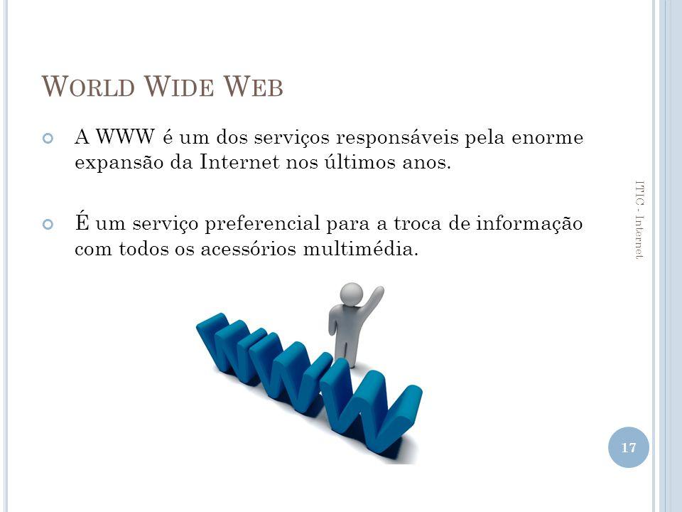 World Wide Web A WWW é um dos serviços responsáveis pela enorme expansão da Internet nos últimos anos.