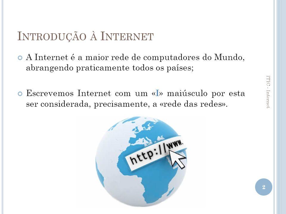 Introdução à Internet A Internet é a maior rede de computadores do Mundo, abrangendo praticamente todos os países;