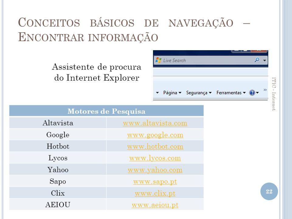 Conceitos básicos de navegação – Encontrar informação