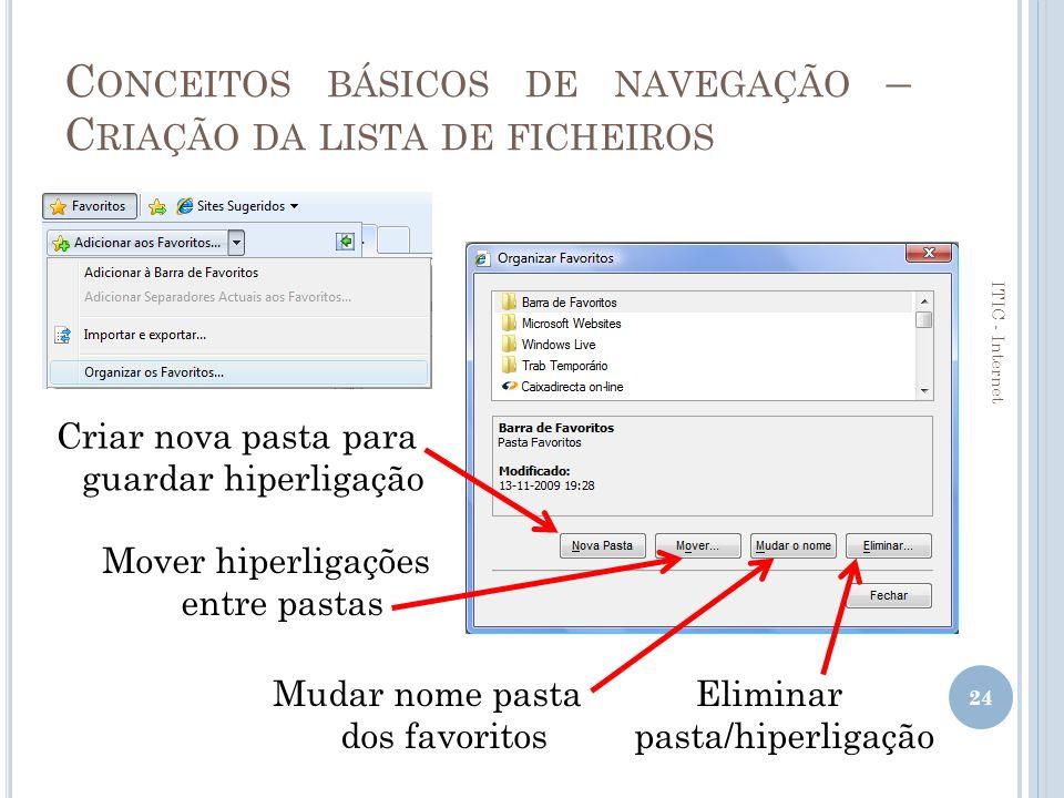 Conceitos básicos de navegação – Criação da lista de ficheiros