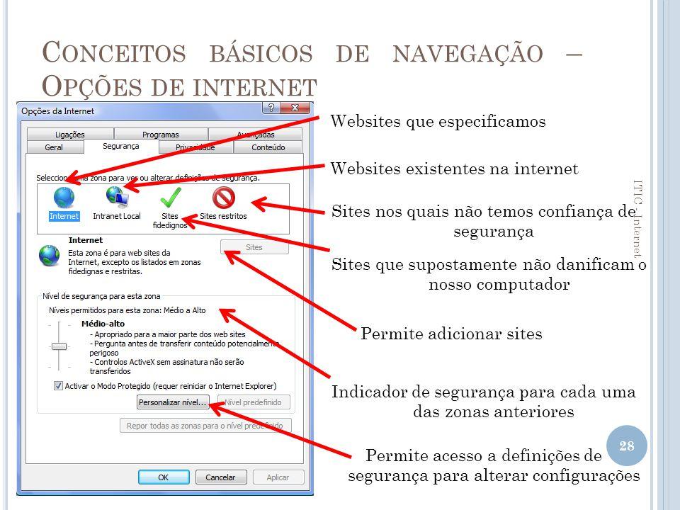 Conceitos básicos de navegação – Opções de internet