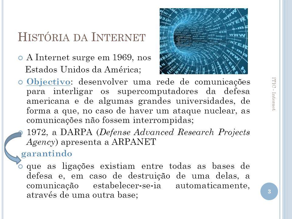 História da Internet A Internet surge em 1969, nos