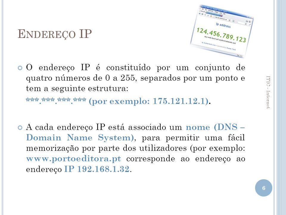Endereço IP O endereço IP é constituído por um conjunto de quatro números de 0 a 255, separados por um ponto e tem a seguinte estrutura: