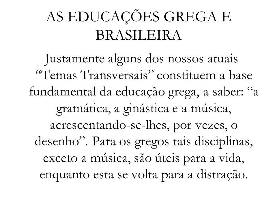 AS EDUCAÇÕES GREGA E BRASILEIRA