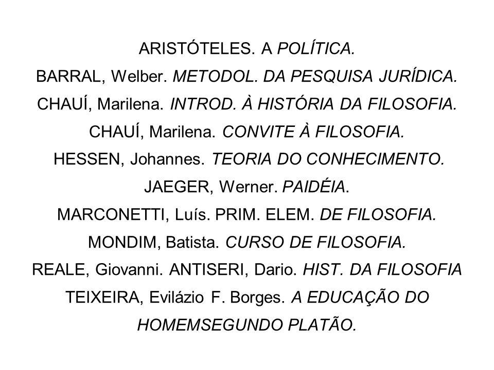 ARISTÓTELES. A POLÍTICA. BARRAL, Welber. METODOL. DA PESQUISA JURÍDICA