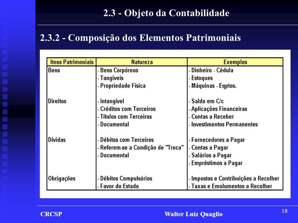 2.3 - Objeto da Contabilidade