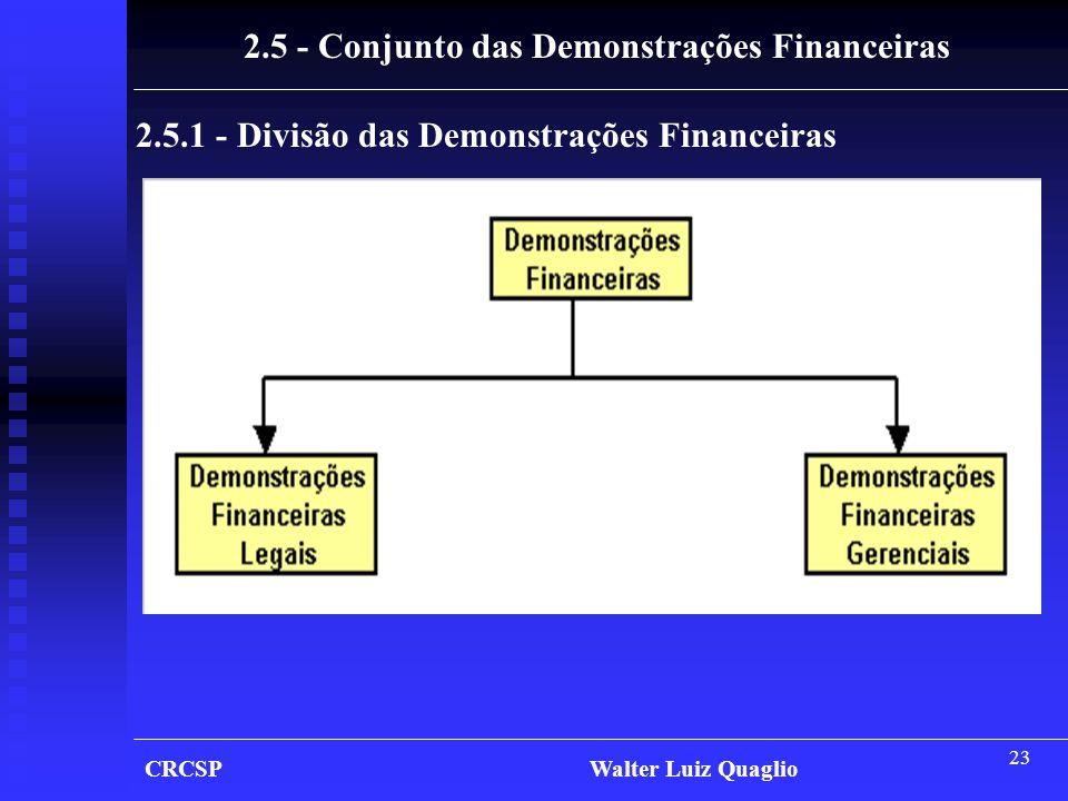2.5 - Conjunto das Demonstrações Financeiras