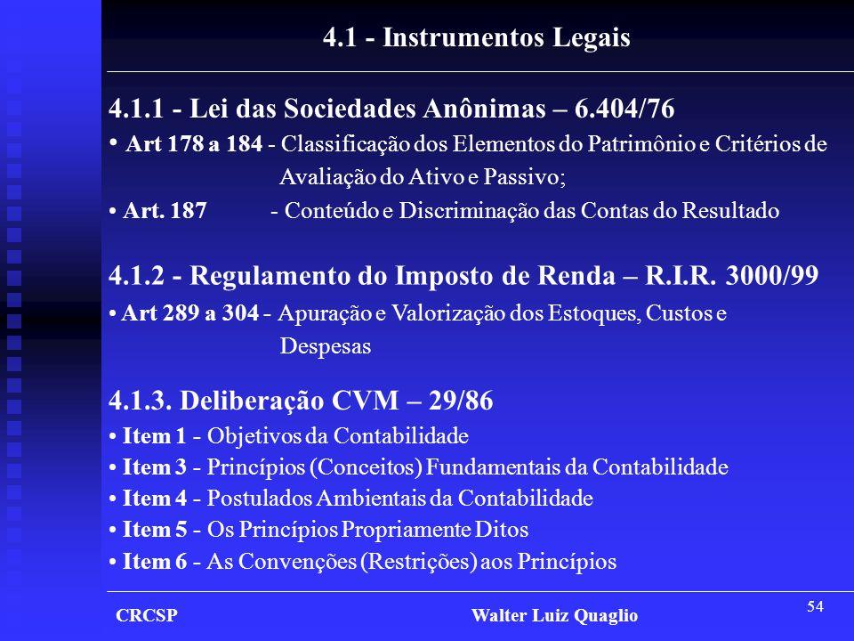 4.1.1 - Lei das Sociedades Anônimas – 6.404/76