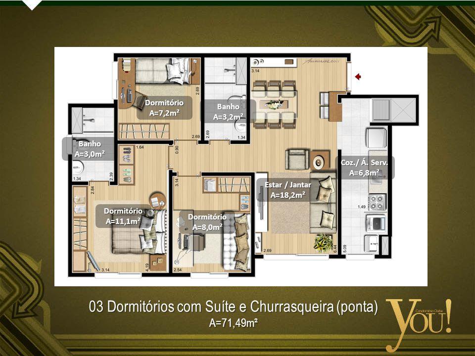 03 Dormitórios com Suíte e Churrasqueira (ponta)