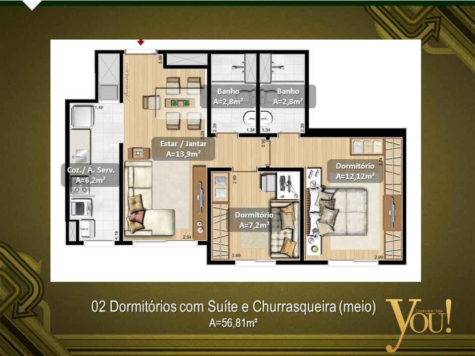 02 Dormitórios com Suíte e Churrasqueira (meio)