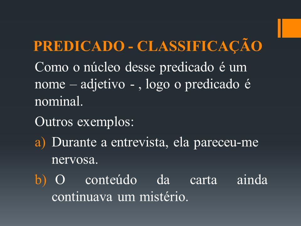 PREDICADO - CLASSIFICAÇÃO