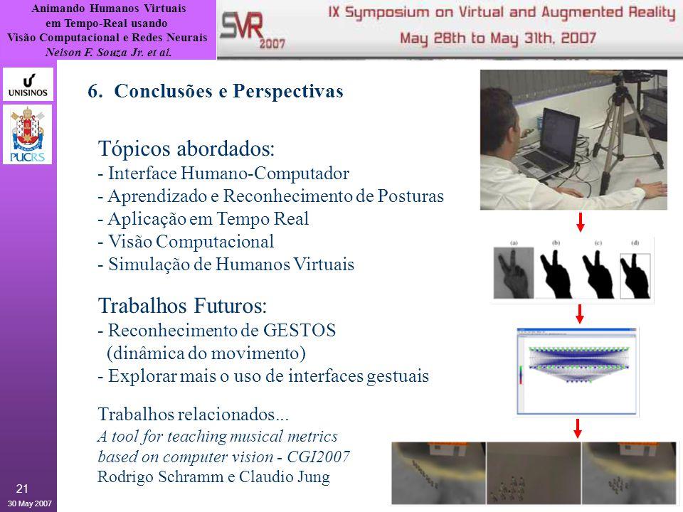 Tópicos abordados: Trabalhos Futuros: 6. Conclusões e Perspectivas
