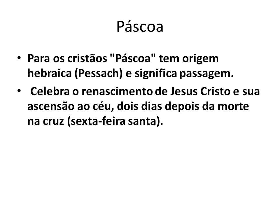 Páscoa Para os cristãos Páscoa tem origem hebraica (Pessach) e significa passagem.