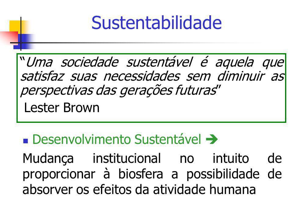 Sustentabilidade Uma sociedade sustentável é aquela que satisfaz suas necessidades sem diminuir as perspectivas das gerações futuras