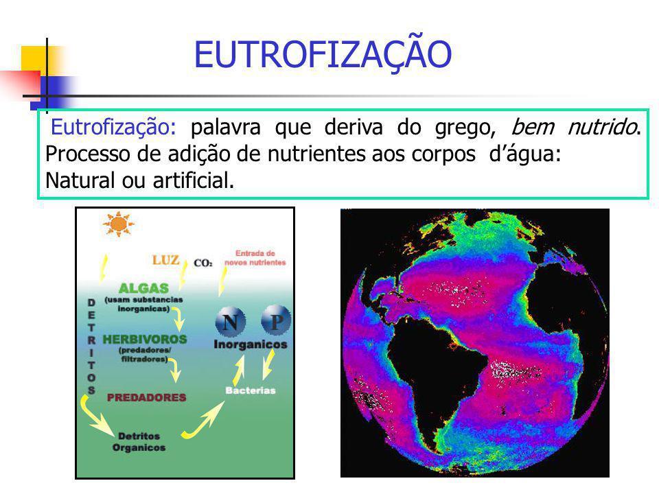 EUTROFIZAÇÃO Eutrofização: palavra que deriva do grego, bem nutrido. Processo de adição de nutrientes aos corpos d'água: