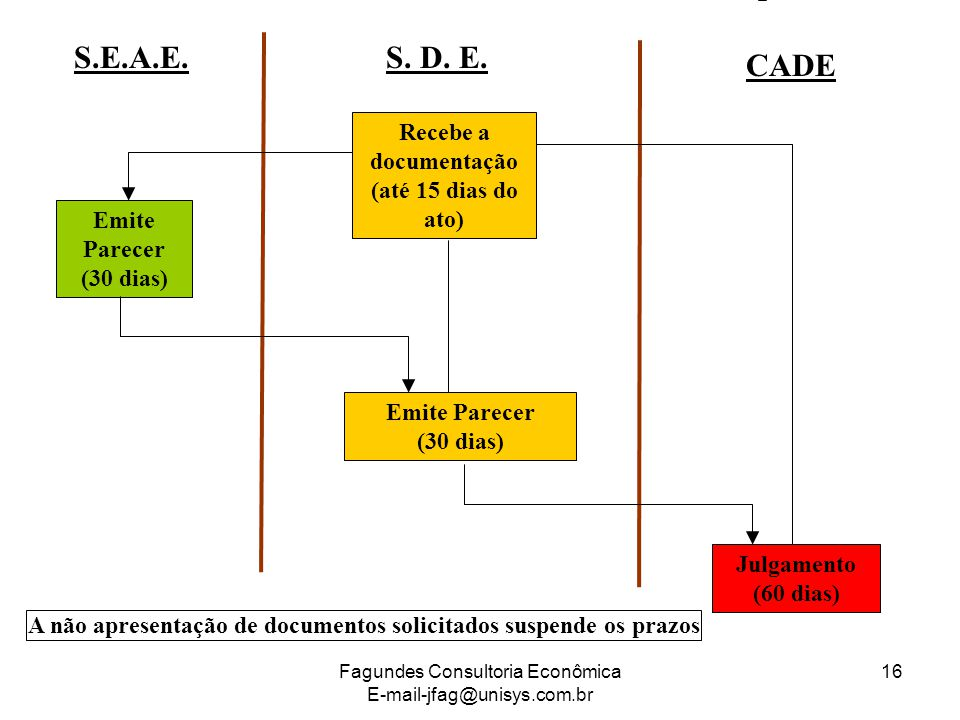 S.E.A.E. S. D. E. CADE Recebe a documentação (até 15 dias do ato)