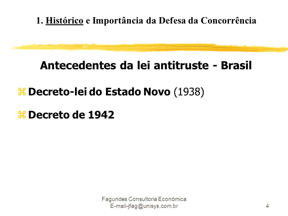 Antecedentes da lei antitruste - Brasil