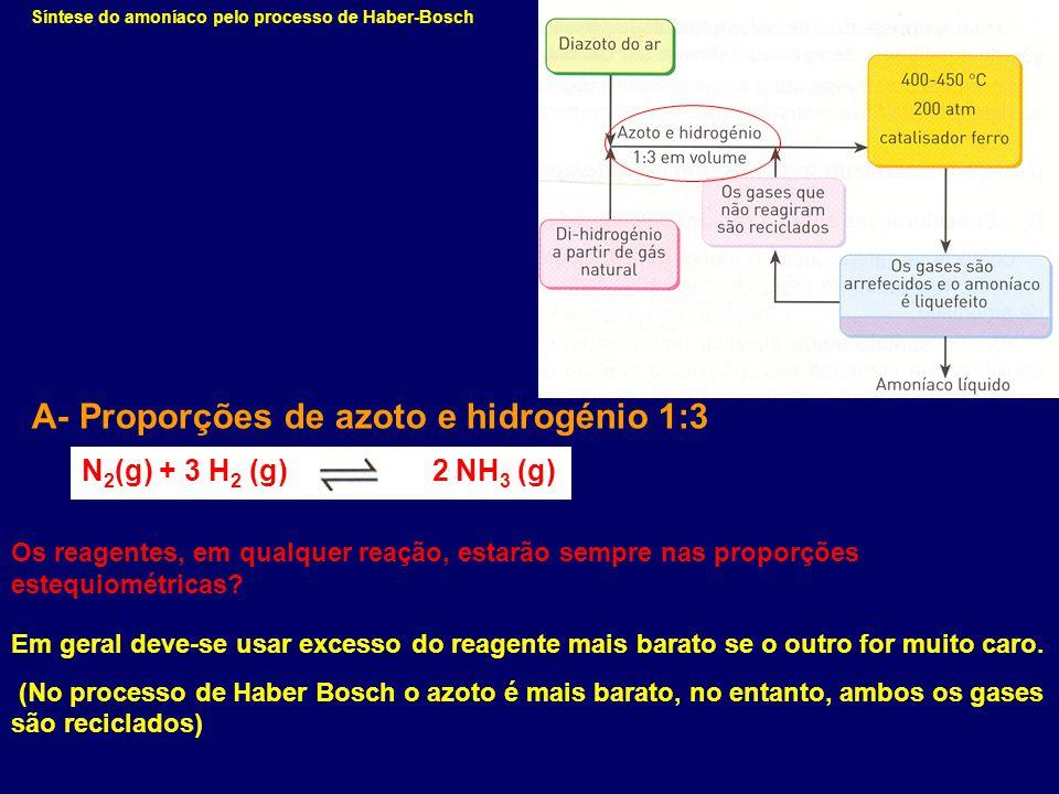A- Proporções de azoto e hidrogénio 1:3