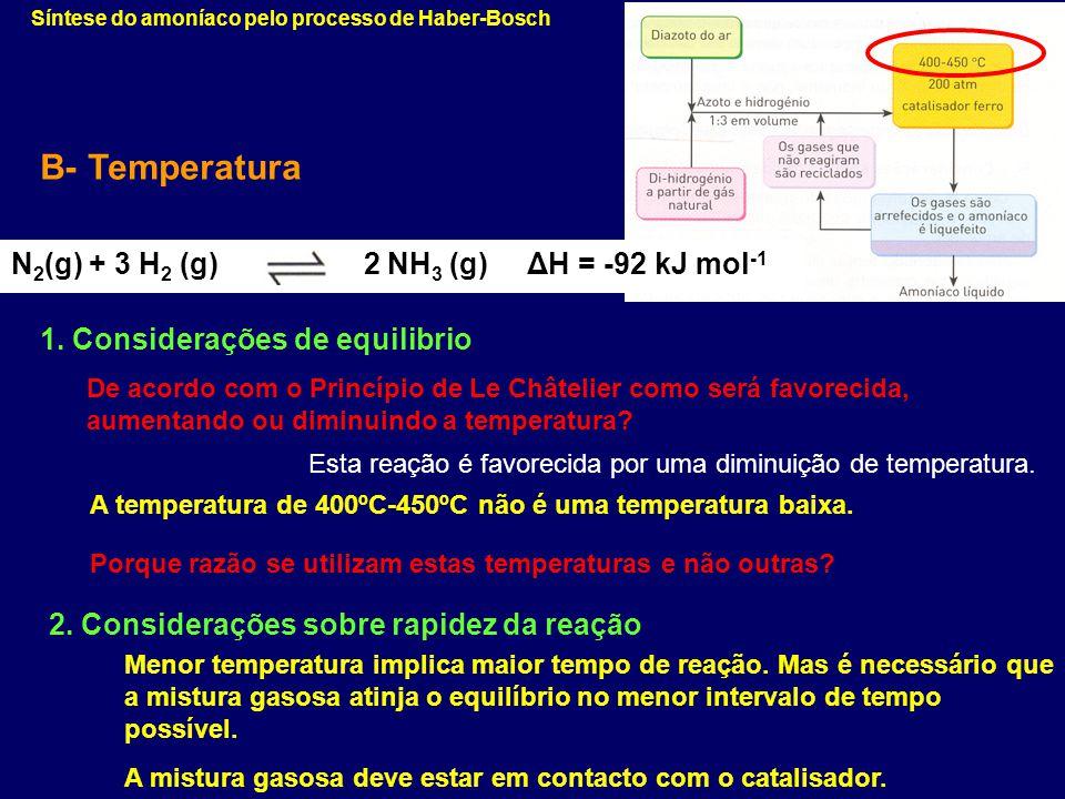 B- Temperatura N2(g) + 3 H2 (g) 2 NH3 (g) ΔH = -92 kJ mol-1