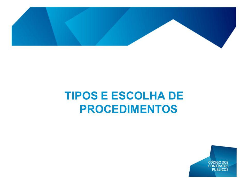 TIPOS E ESCOLHA DE PROCEDIMENTOS
