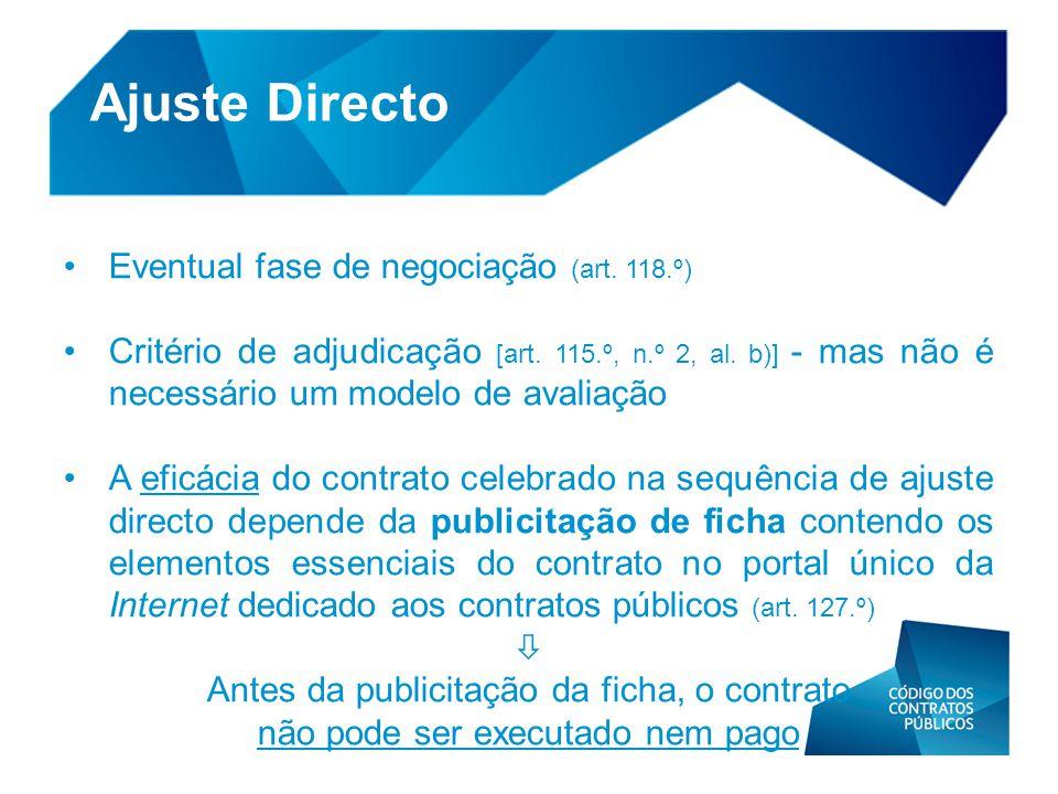 Ajuste Directo Eventual fase de negociação (art. 118.º)