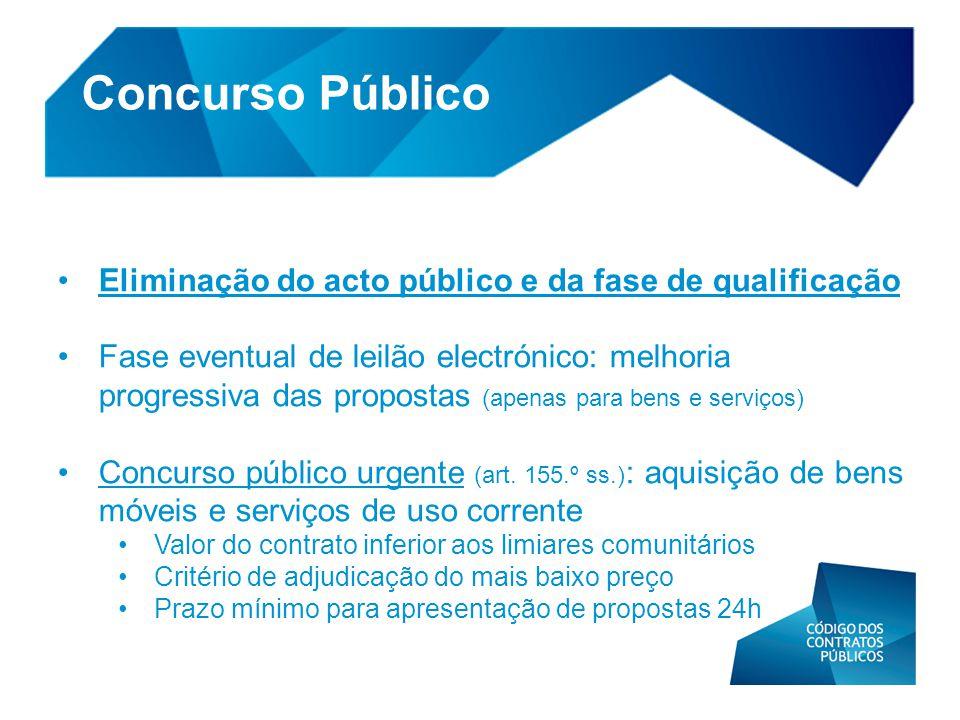 Concurso Público Eliminação do acto público e da fase de qualificação