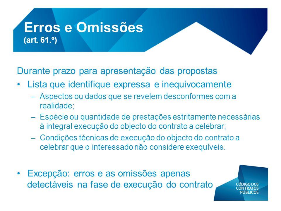 Erros e Omissões (art. 61.º)