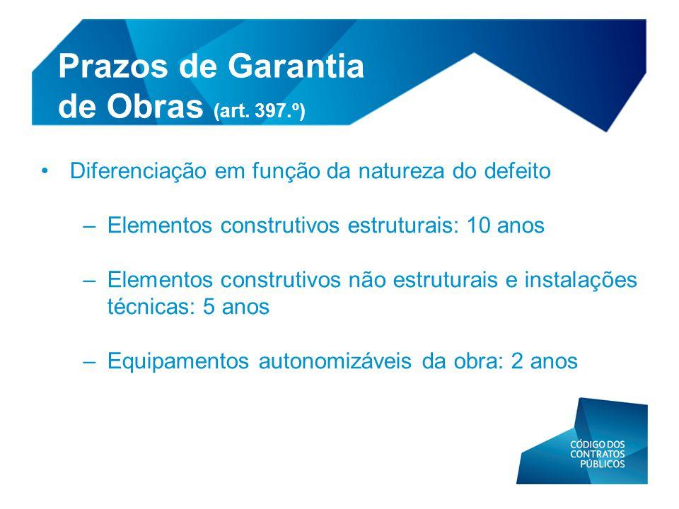 Prazos de Garantia de Obras (art. 397.º)