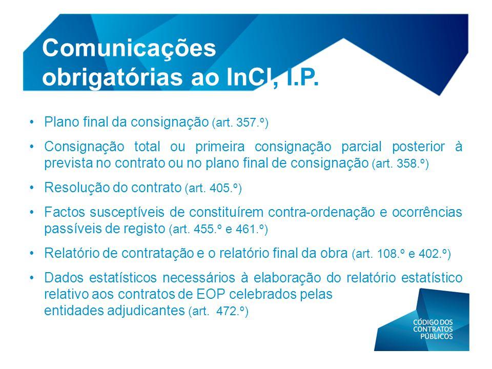 Comunicações obrigatórias ao InCI, I.P.