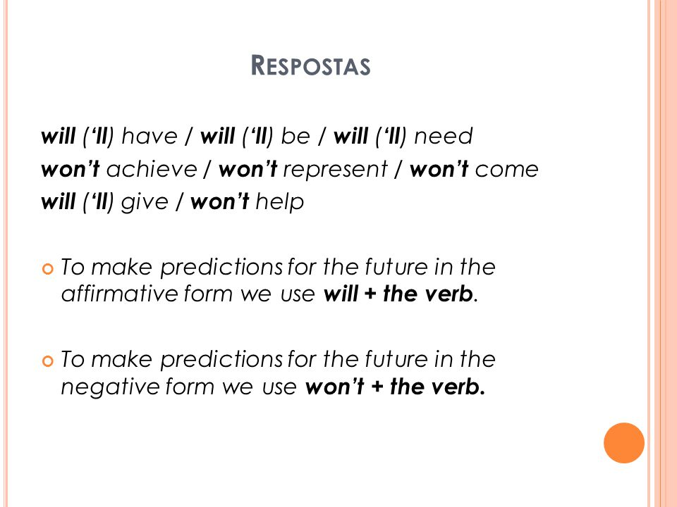 Respostas will ('ll) have / will ('ll) be / will ('ll) need
