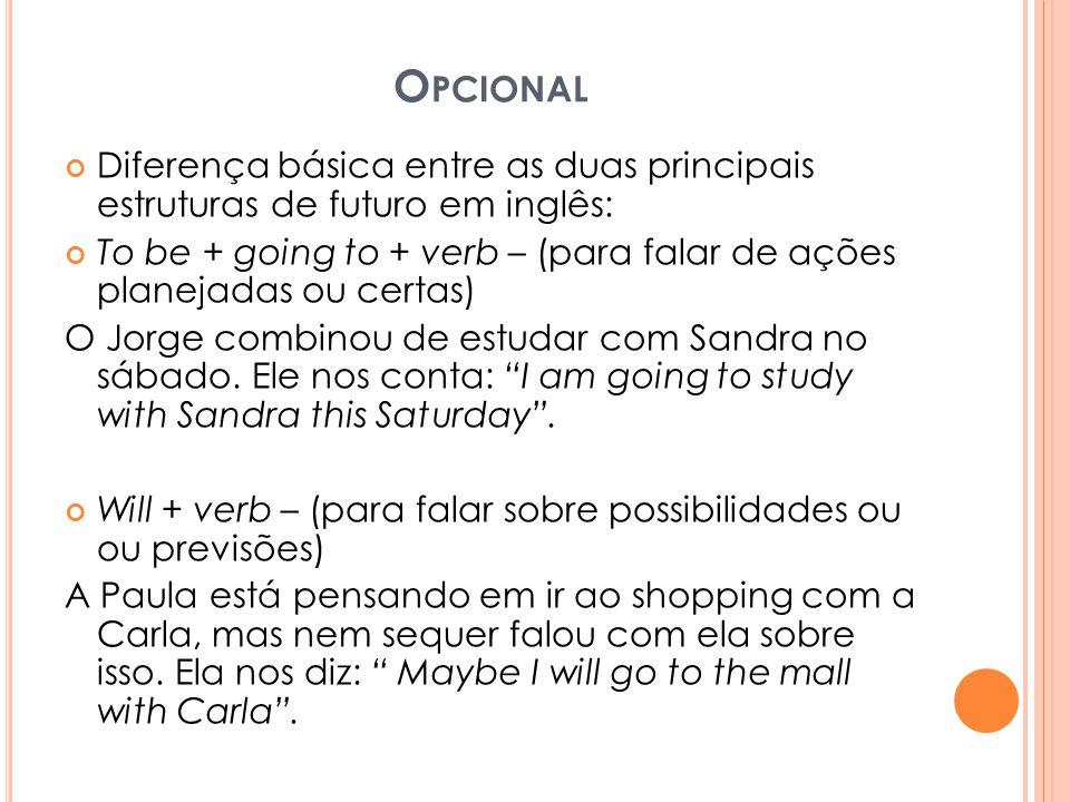 Opcional Diferença básica entre as duas principais estruturas de futuro em inglês: