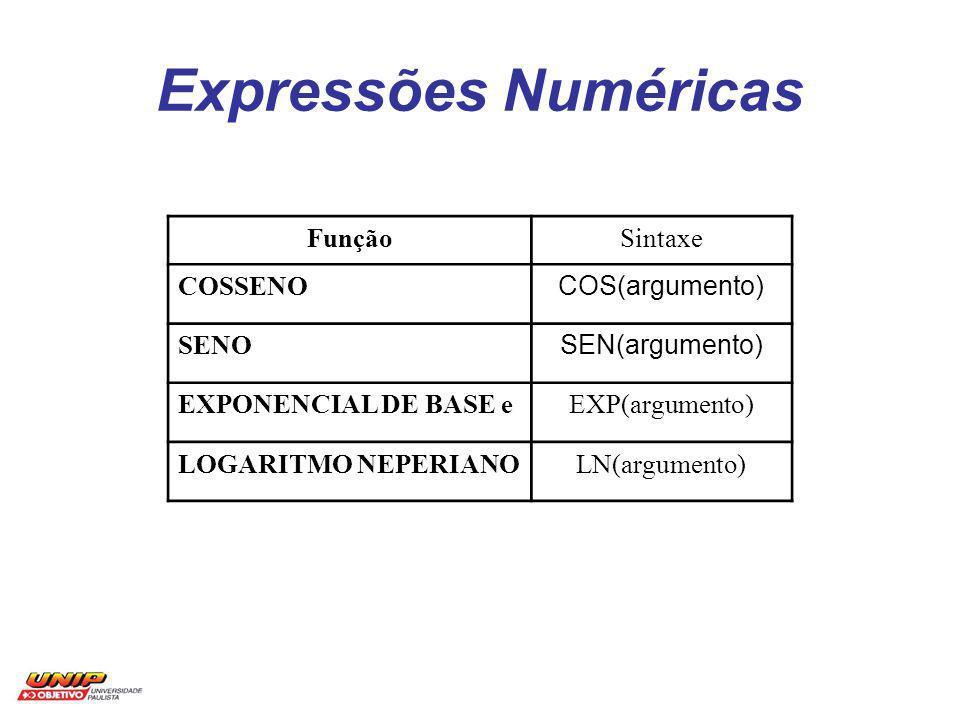 Expressões Numéricas Função Sintaxe COSSENO COS(argumento) SENO