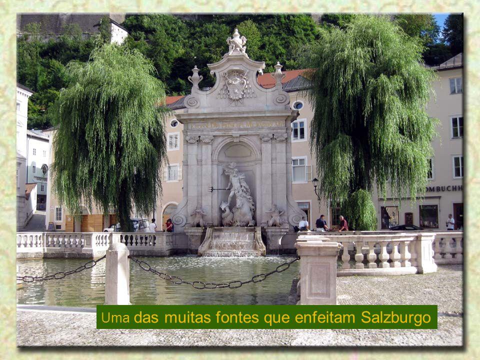 Uma das muitas fontes que enfeitam Salzburgo