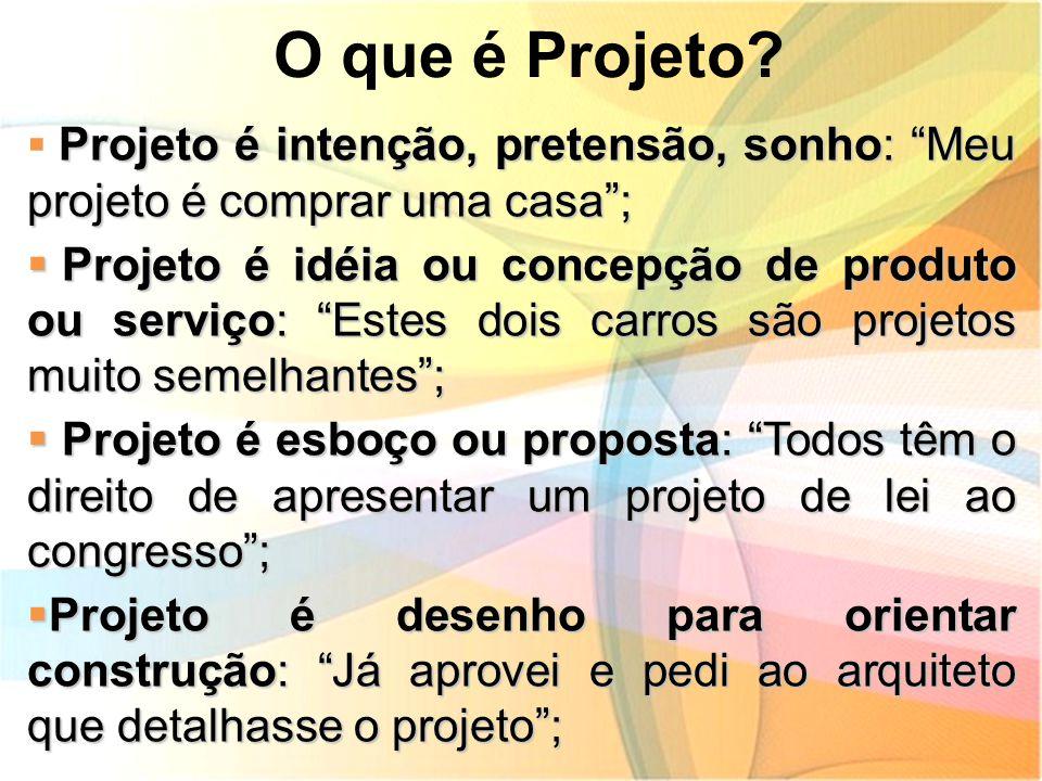 O que é Projeto Projeto é intenção, pretensão, sonho: Meu projeto é comprar uma casa ;