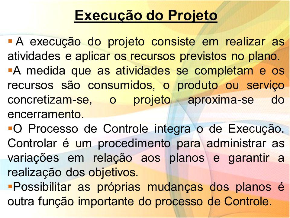 Execução do Projeto A execução do projeto consiste em realizar as atividades e aplicar os recursos previstos no plano.