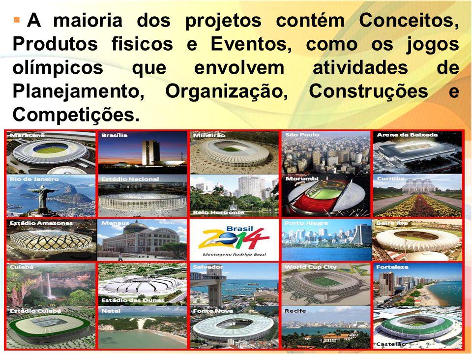 A maioria dos projetos contém Conceitos, Produtos fisicos e Eventos, como os jogos olímpicos que envolvem atividades de Planejamento, Organização, Construções e Competições.