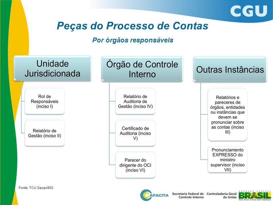 Peças do Processo de Contas Por órgãos responsáveis