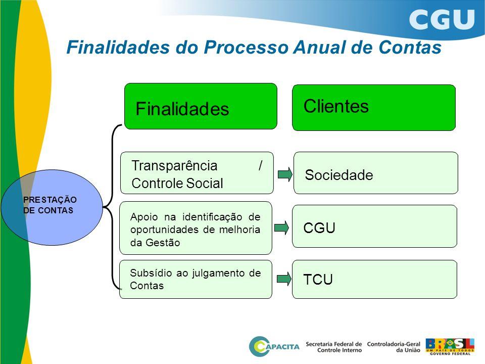 Finalidades Clientes 2 Finalidades do Processo Anual de Contas
