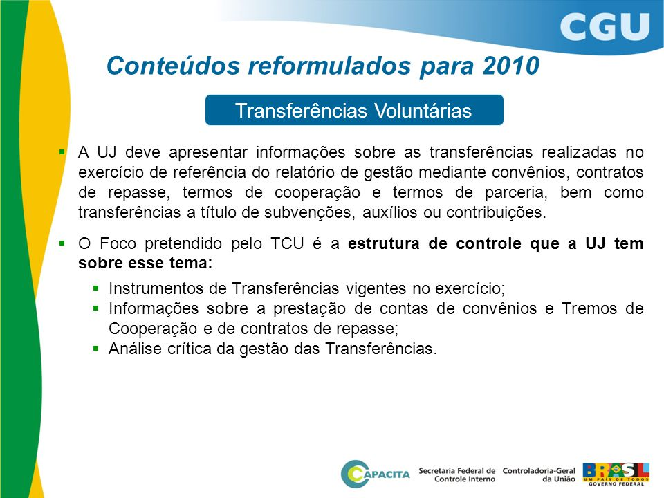 Conteúdos reformulados para 2010