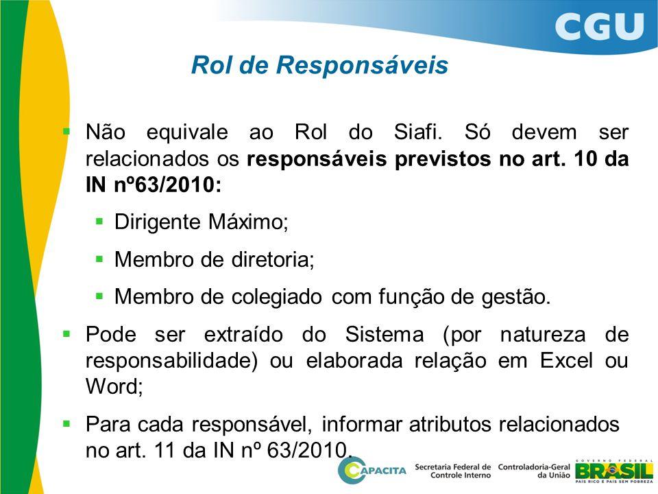 Rol de Responsáveis Não equivale ao Rol do Siafi. Só devem ser relacionados os responsáveis previstos no art. 10 da IN nº63/2010: