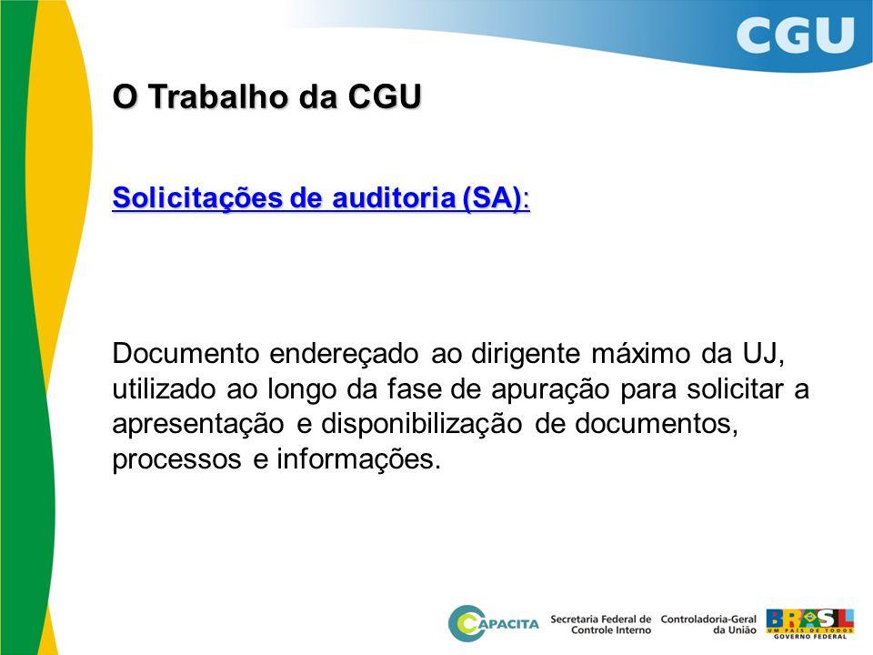 O Trabalho da CGU Solicitações de auditoria (SA):